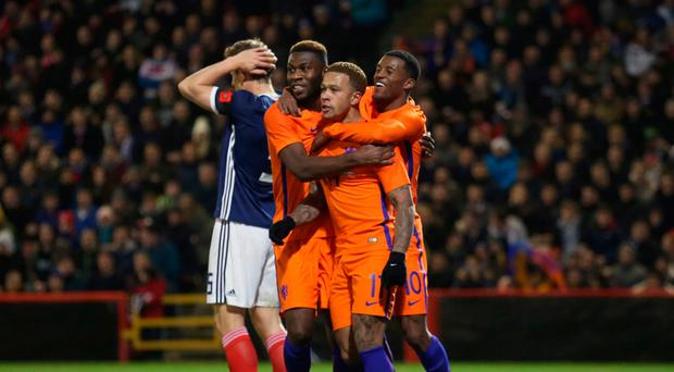 Dubious: Memphis Depay after scoring his side's winner