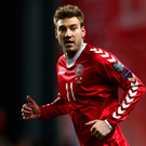 Prepared: Denmark striker Nicklas Bendtner is in determined mood