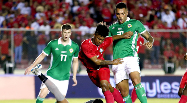 No joy: Josh Magennis is denied in the Panama box