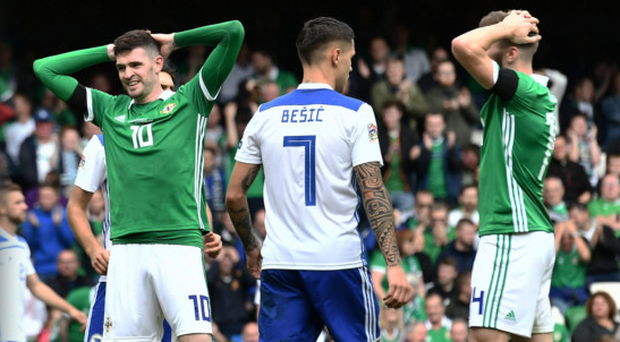 Out of luck: Kyle Lafferty shows his frustration as a chance goes to waste