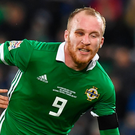 Going down: Northern Ireland's Liam Boyce is tackled by Austria ace Aleksander Dragovic at Windsor Park