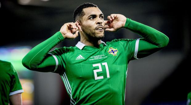 High point: Josh Magennis celebrates after hitting the winner in Northern Ireland's victory over Belarus