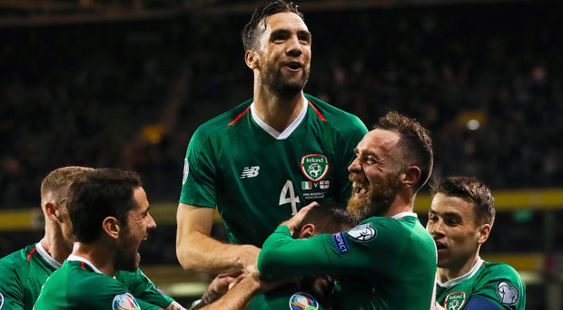 On top: Shane Duffy led the celebrations after Conor Hourihane's goal