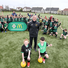 Safe hands: Goalkeeping great Pat Jennings, a McDonald's Football Ambassador, at the launch of the McDonald's Fun Football initiative