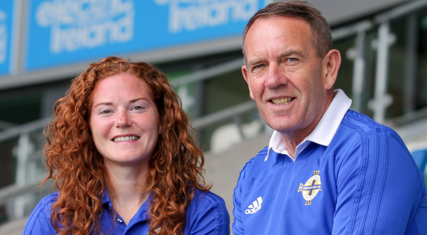 Taking charge: Northern Ireland women's managerKenny Shiels with captain Marissa Callaghan at his Windsor Park unveiling