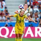 Foot first: Lucy Bronze challenges Lina Hurtig
