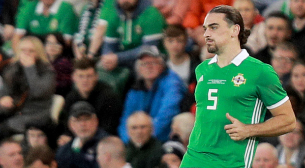 What a night: Ciaron Brown looking assured on his international debut against Luxembourg at Windsor Park on Thursday