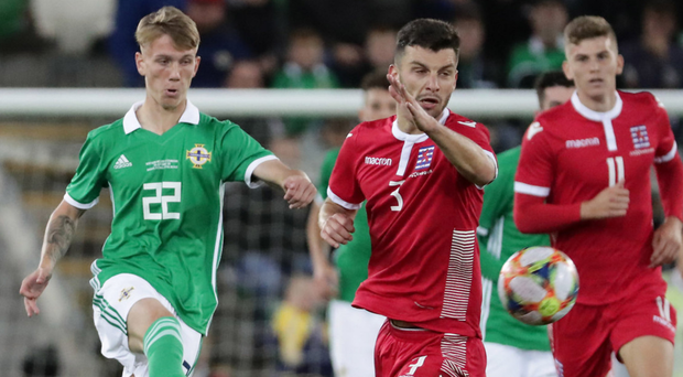 Great experience: Northern Ireland's Ethan Galbraith in action against Luxembourg on Thursday
