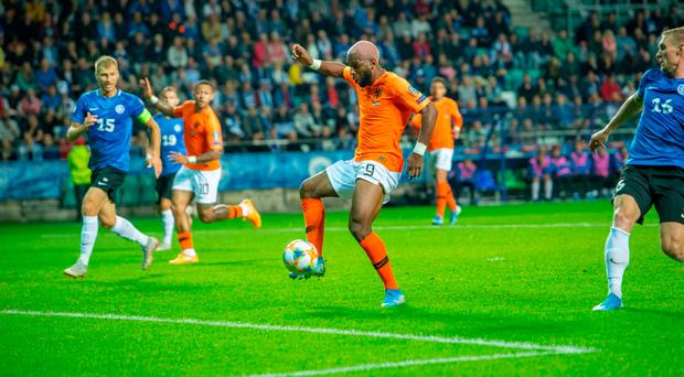 At the double: Ryan Babel netted twice for Netherlands