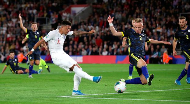 Get in: Jadon Sancho scores England's fourth goal last night