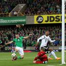 Missed opportunity: Conor Washington comes close to scoring against Germany