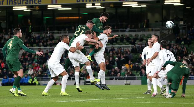 Head first: Derrick Williams equalises in the Republic's 3-1 win over New Zealand in Dublin last night