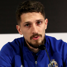 Special night: Craig Cathcart, facing the media last night, will win his 50th cap in Frankfurt