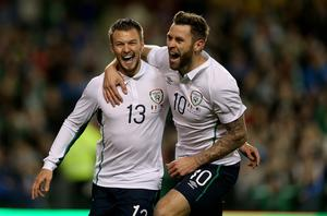 Great start: The Republic of Ireland's Anthony Pilkington celebrates his opening goal at the Aviva Stadium with team-mate Daryl Murphy