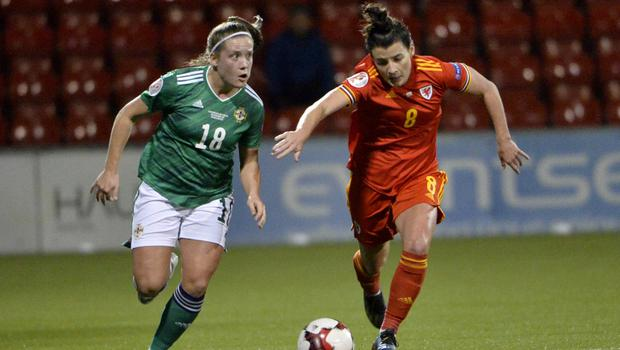 On attack: NI ace Megan Bell takes on Angharad James