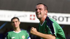 In the net: Stuart Elliott celebrates after scoring against Azerbaijan in 2005, now he's worried about a lack of goals