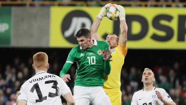 In air: Kyle Lafferty has been left out of the Northern Ireland squad