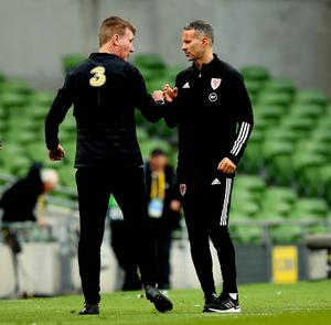 Stephen Kenny greets Wales counterpart Ryan Giggs