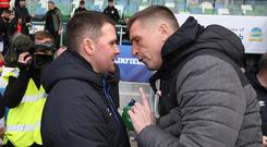 Linfield boss David Healy (left) and Crusaders manager Stephen Baxter