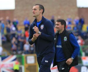 Coleraine manager Oran Kearney (left) and Linfield boss David Healy.