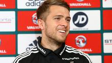 All smiles: Jamie Ward wants to score against Greece again