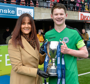 St Malachy's skipper Burns with Danske Bank's Aishling Press