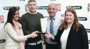 Top men: Chris Curran and Tommy Breslin receive their awards from BT Sport Retention Managers Angela Rogan (left) and Michelle McCusker