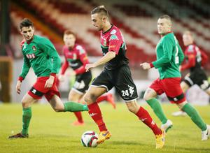 On the ball: Conor McMenamin on the attack for Glentoran