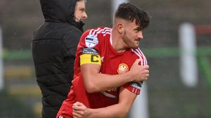 Lee Bonis played the final eight minutes while carrying an injured shoulder after levelling for Portadown. Pic: INPHO/Stephen Hamilton