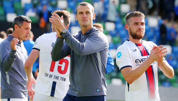 Bit of previous: Oran Kearney after leading Coleraine to victory at Windsor Park