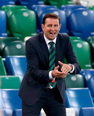 Empty feeling: Ian Baraclough's first home NI match was behind closed doors