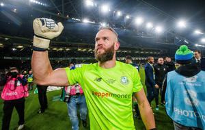Alan Mannus after winning the FAI Cup with Shamrock Rovers last year