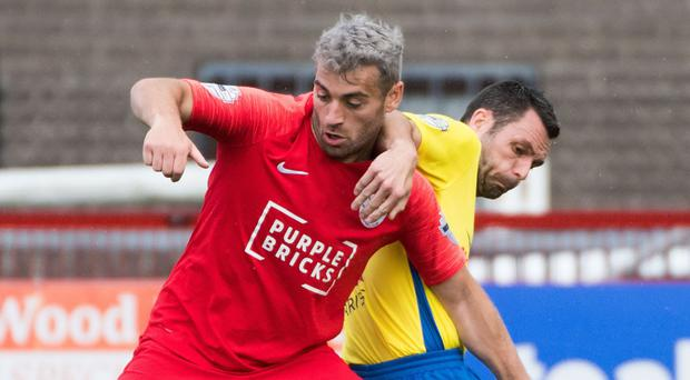 Tough taskmaster: Davy McDaid has challenged Larne to see off Glentoran and Linfield in the coming days