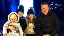 Close knit: Allan enjoying family time with his wife Kirsty and daughters Alli and Macie