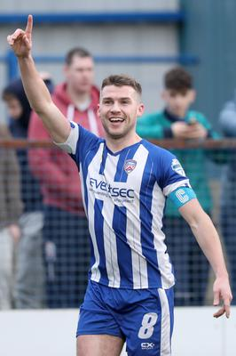 Pointing way: Stephen Lowry after scoring for Coleraine