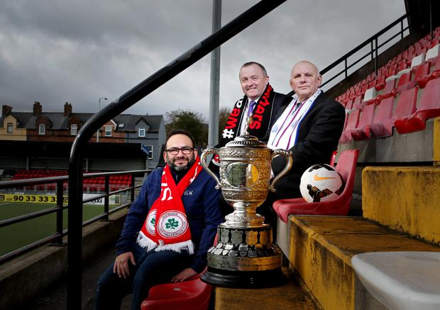 Cliftonville chaplain Dario Leal with fellow chaplains Ken White and Bill Lavery