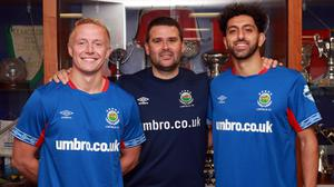New chapter: Linfield's new signings Conor Pepper and Navid Nasseri with David Healy