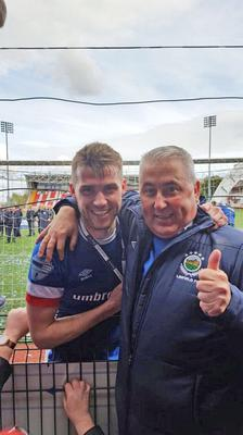 Thumbs up: Stephen Lowry and dad Ken celebrate success with Linfield