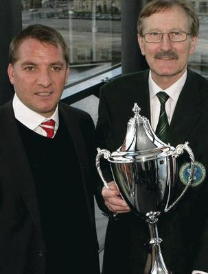 Brendan Rodgers with Milk Cup Chairman Victor Leonard
