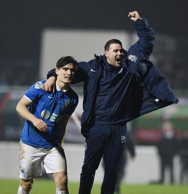 David Healy and Jimmy Callacher celebrate victory over the Glens in 2015