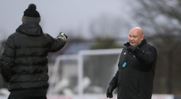Pointing finger: David Jeffrey gets animated during United's victory over Crumlin Star in the Irish Cup