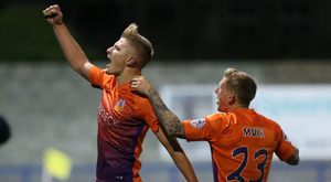 On course: Andy Mitchell celebrates doubling Glenavon's advantage