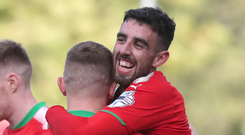 Mr Cliftonville: Joe Gormley celebrates his second goal