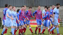 Teenage kicks: Jonah Heron is centre of attention after contributing to Ards taking the lead
