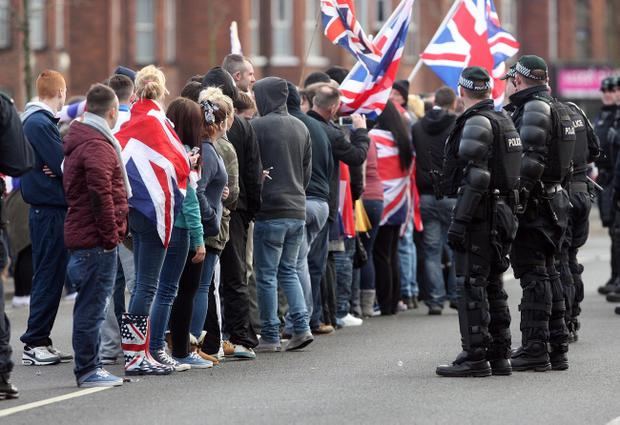 Loyalist protesters clashed with police as Saturday's game between Crusaders and Cliftonville at Seaview in Belfast was called off