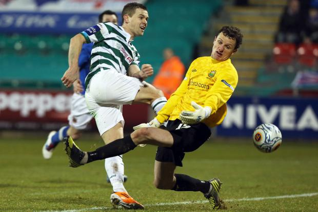 Shamrock Rovers' Shane Robinson beats Linfield goalkeeper Ross Glendinning