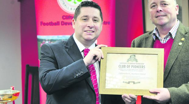 Cliftonville chairman Gerard Lawlor (left) is welcomed to the Club of Pioneers by his Sheffield FC counterpart, Richard Tims