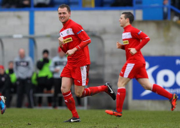 Cliftonville's Ciaran Caldwell celebrates scoring his second goal against Glenavon during Saturday's Danske Bank Premiership game
