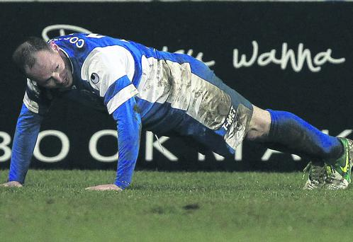 Dungannon's James Costello celebrates scoring against Glentoran during Tuesday night's Danske Bank Premiership game at the Oval, Belfast