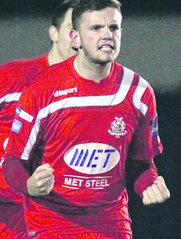 Portadown's Darren Murray celebrates one of his team's three goals